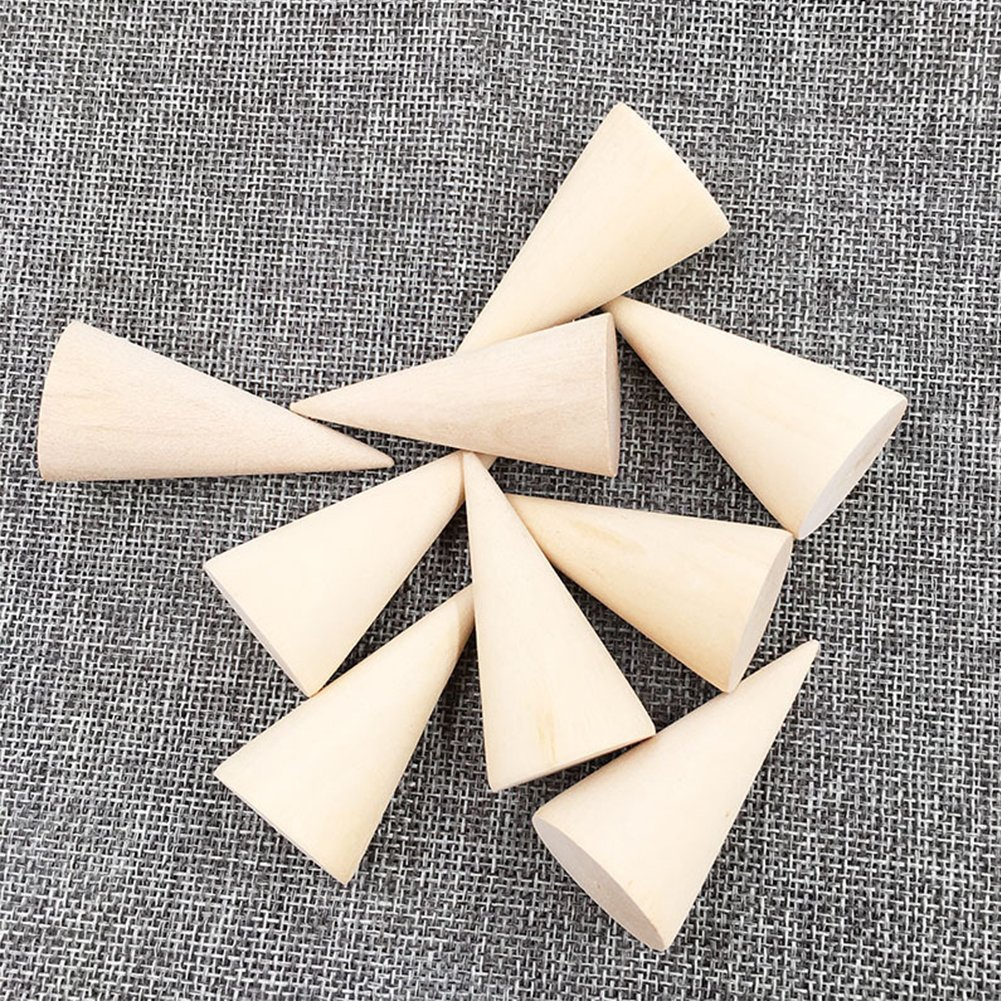Whale GoGo 10 Pcs Small Natural Wood Cone Ring Display Stands Organizer Holders by Whale GoGo (Image #3)