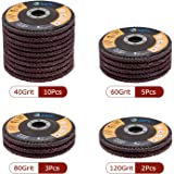 Flap Discs High-Density Backing 40/60/80/120 Grit Assorted Vibration-Free Operating Sanding Grinding Wheels Aluminum…