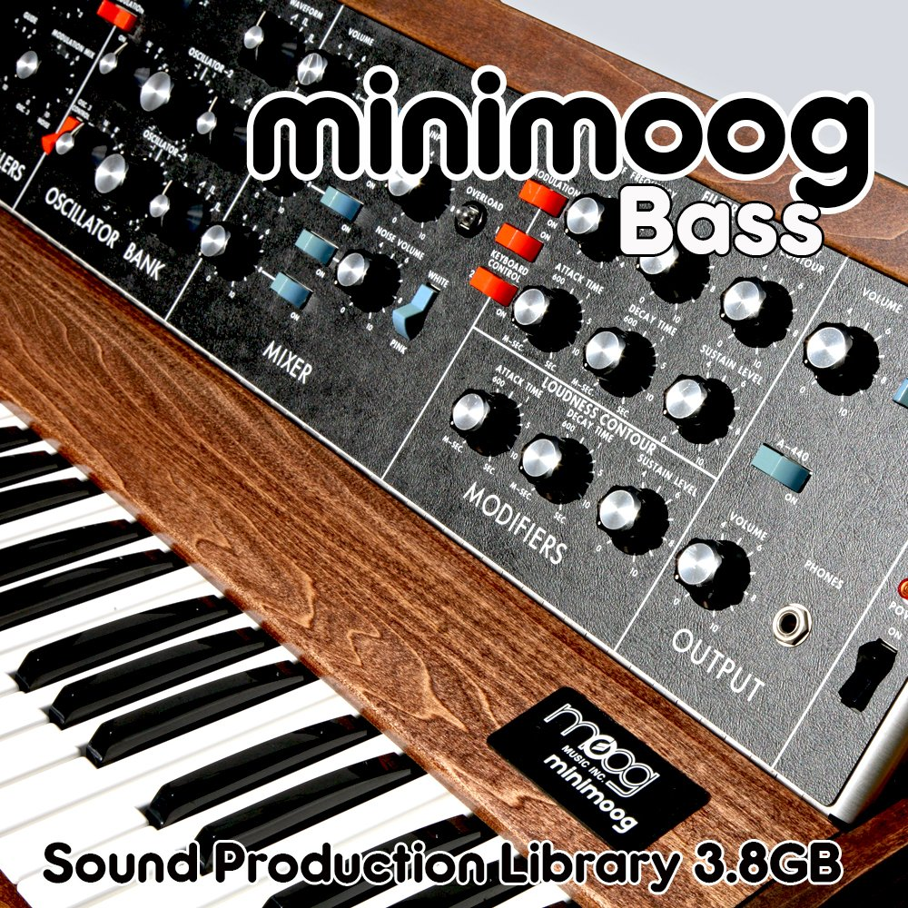 MINIMOOG BASS - The King of Analog Sounds - Large unique original 24bit WAVE/Kontakt Multi-Layer Samples/Loops Library. FREE USA Continental Shipping on DVD or download; by SoundLoad