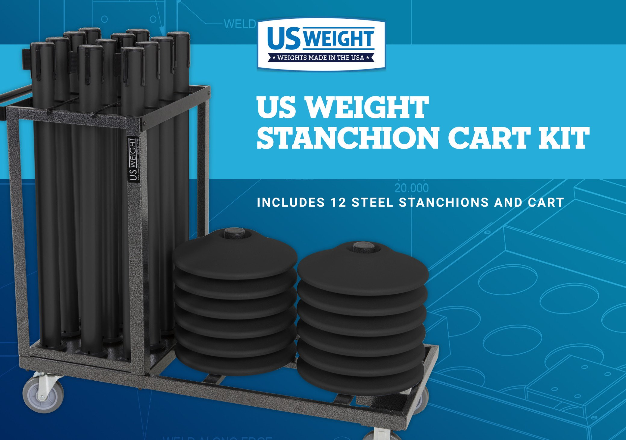 US Weight Statesman Stanchion Cart Kit – 12 Premium Black Steel Stanchions with Cart by US Weight (Image #2)