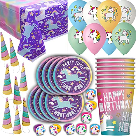 Amazon Com Unicorn Birthday Party Supplies 8 Guests Plates