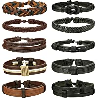 Besteel 10PCS Braided Leather Bracelets for Men Women Punk Rope Bracelet Cuff Vintage Bracelets Wrap Set, Adjustable