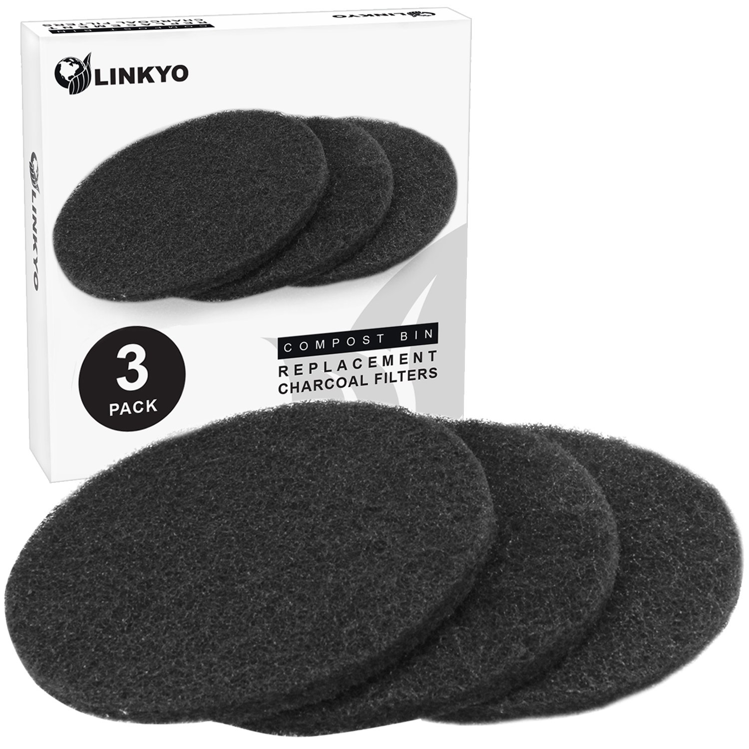 LINKYO Activated Carbon Compost Bin Filter Refill Pack - Set of 3 Odor Absorbing Charcoal Filters