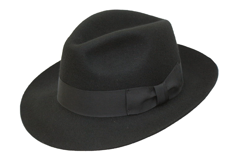 BLACK High Quality Hand Made Gents Fedora Felt Trilby Hat With Wider Brim 100% Wool NEW