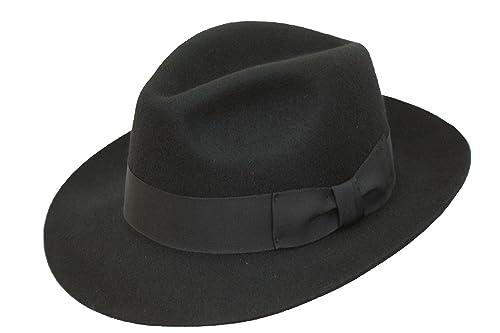 VIZ-UK WEAR Negro de alta calidad hecho a mano para hombre Fedora sombrero  de fieltro con amplia visera 100% lana nueva  Amazon.es  Ropa y accesorios da212a6f159