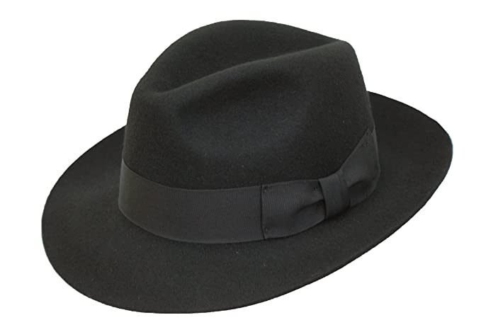 a122eb9bb2f Hand Made Gents Fur Felt Fedora Trilby Hat with Wider Brim New (61) Black   Amazon.co.uk  Clothing