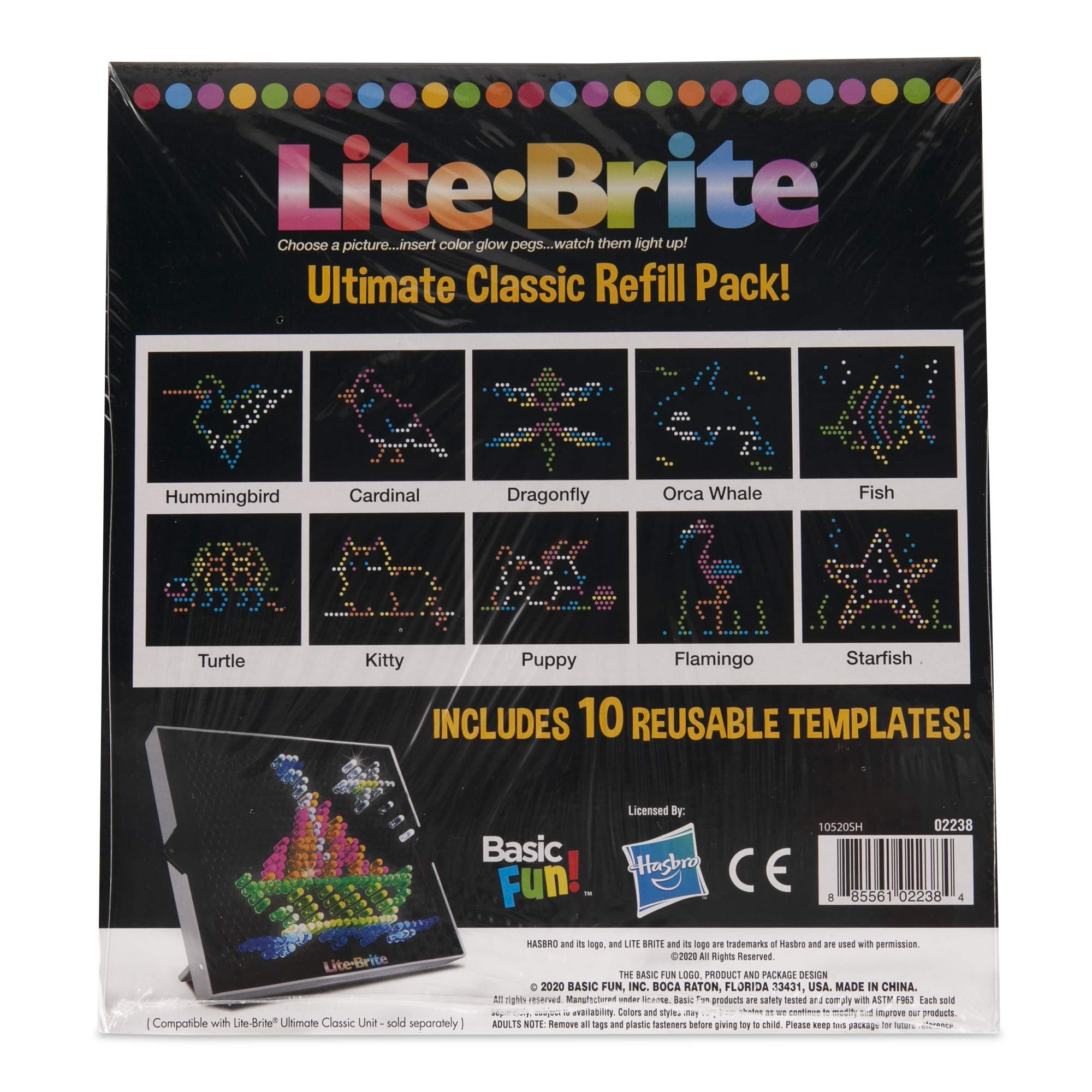 Basic Fun Lite Brite Ultimate Classic Refill Pack - Animal Theme - 10 Reusable Templates - Amazon Exclusive
