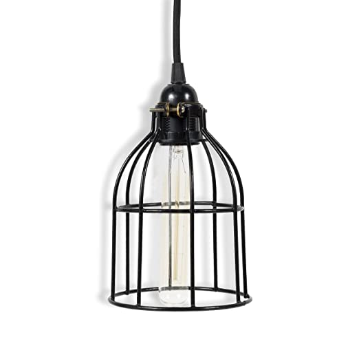 Rustic State Vintage Design Curved Metal Wire Cage Pendant Lamp with 15'  Plug-in Fabric Cord Toggle Switch and Edison Light Bulb in Black