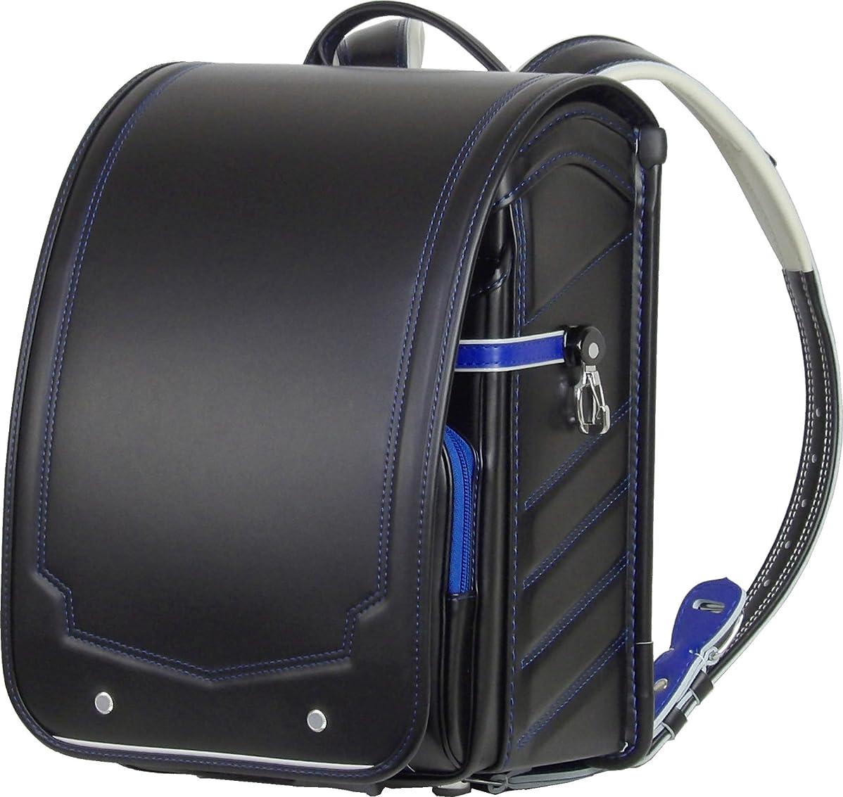ふわりぃ コンビステッチ ランドセル 反射びょう仕様  黒 (ブラック) ×ブルー(ステッチ) 外せる持ち手ハンドル付 A4ブックファイル 収納サイズ限定生産モデル B071L9SX9K