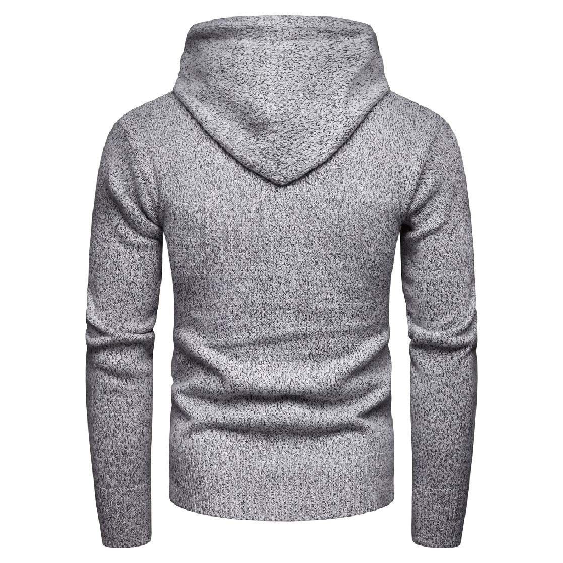YUNY Mens Pure Color Pullover Cargo Pocket Knitwear Hooded Long Sleeve Sweaters Light Grey XL