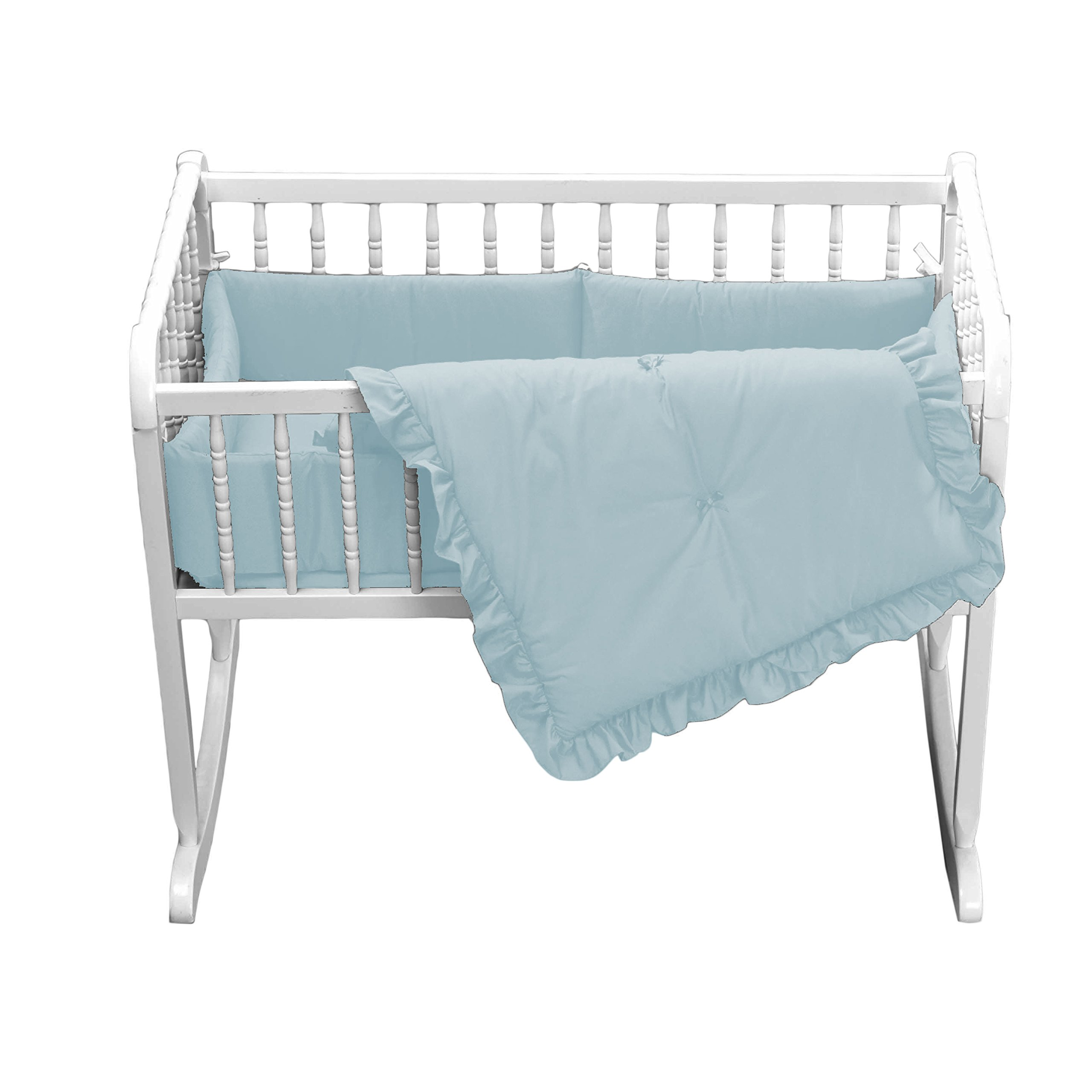 bkb Primary Colors Cradle Bedding, Light Blue, 15'' x 33'' by BabyDoll Bedding