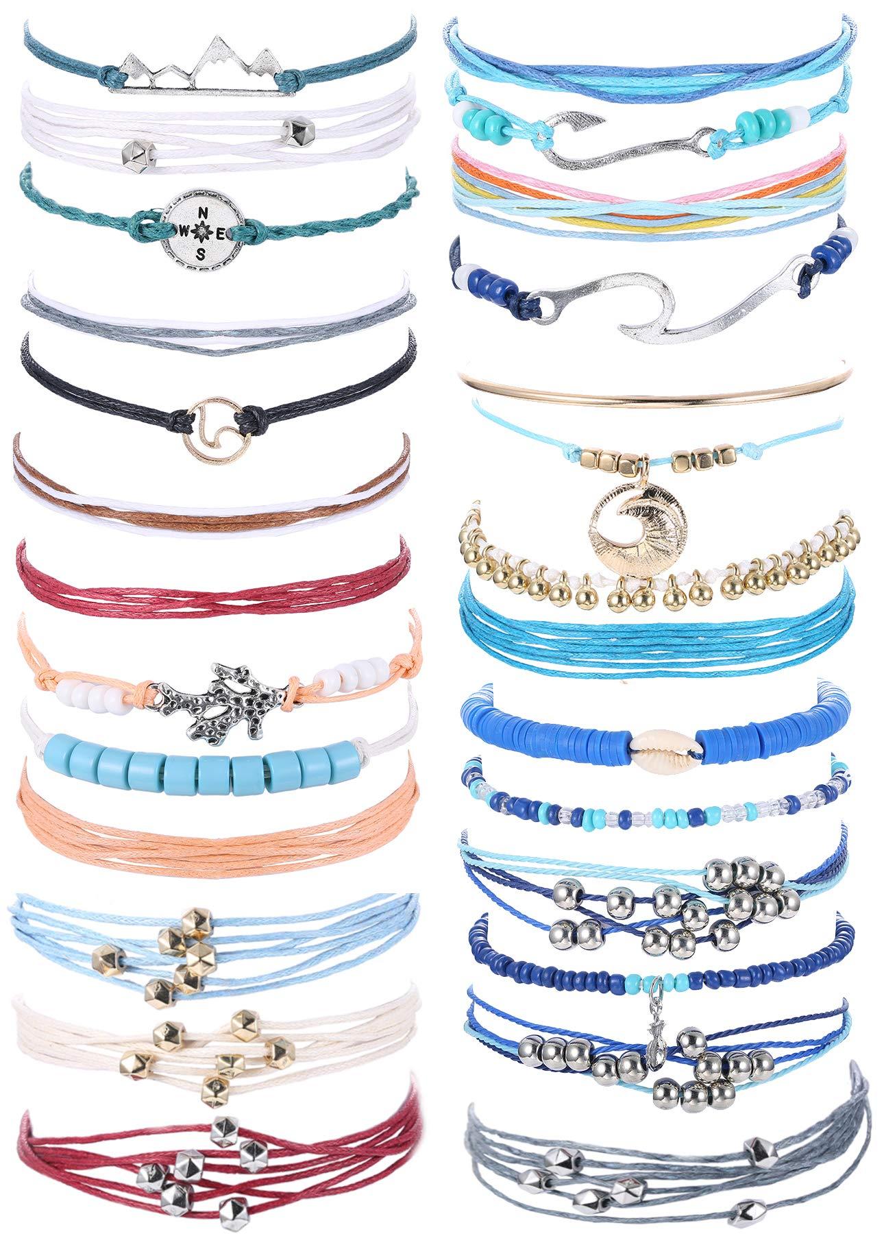 Subiceto 7 Set Wave Strand Bracelet Set for Women Girls Handmade Wax Coated Braided Rope Boho Woven Bracelet by Subiceto