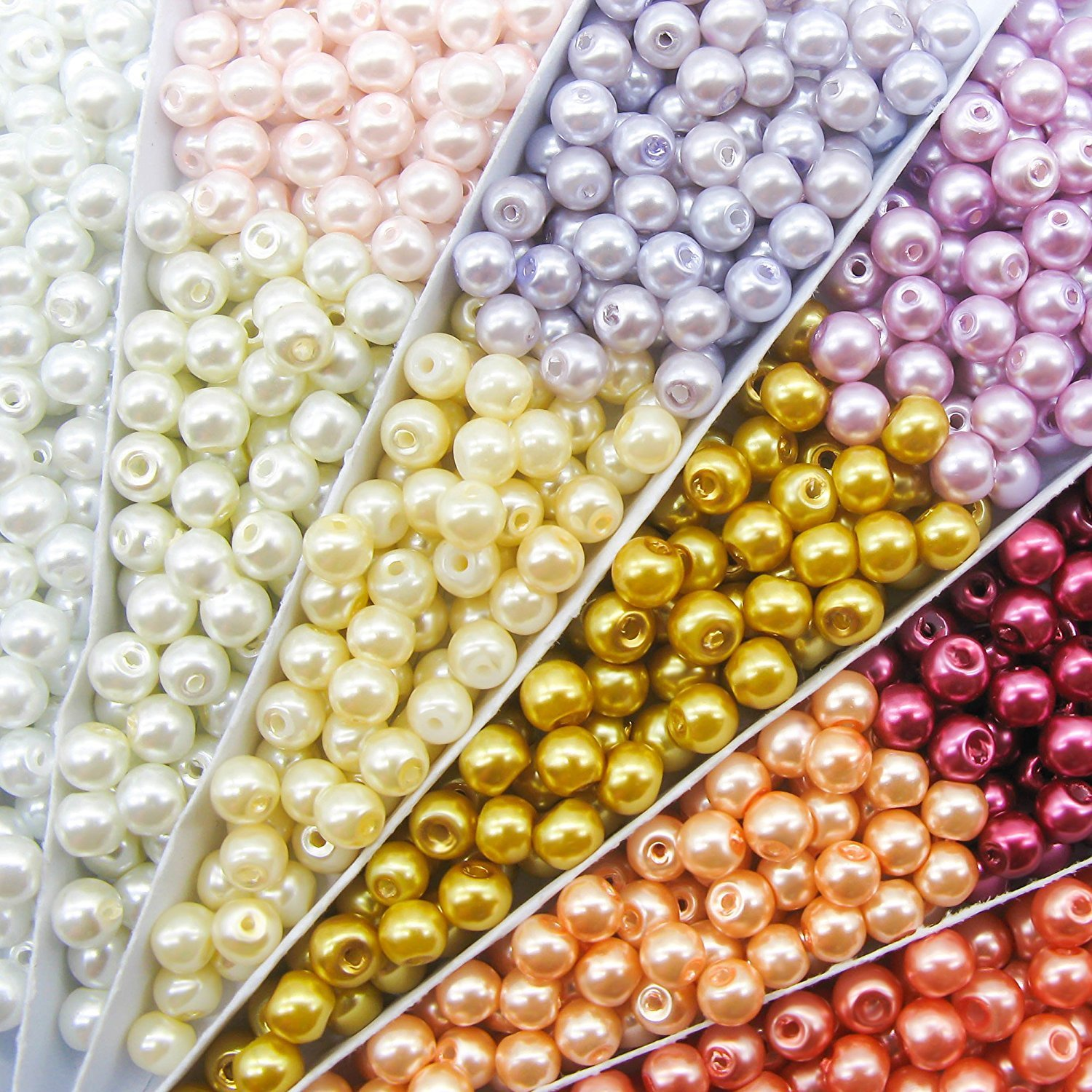 TOAOB 1000 Piece 4mm Tiny Satin Luster Round Glass Pearl Bead Loose Beads Multi Colors Wholesale Beading Kits CLB0047