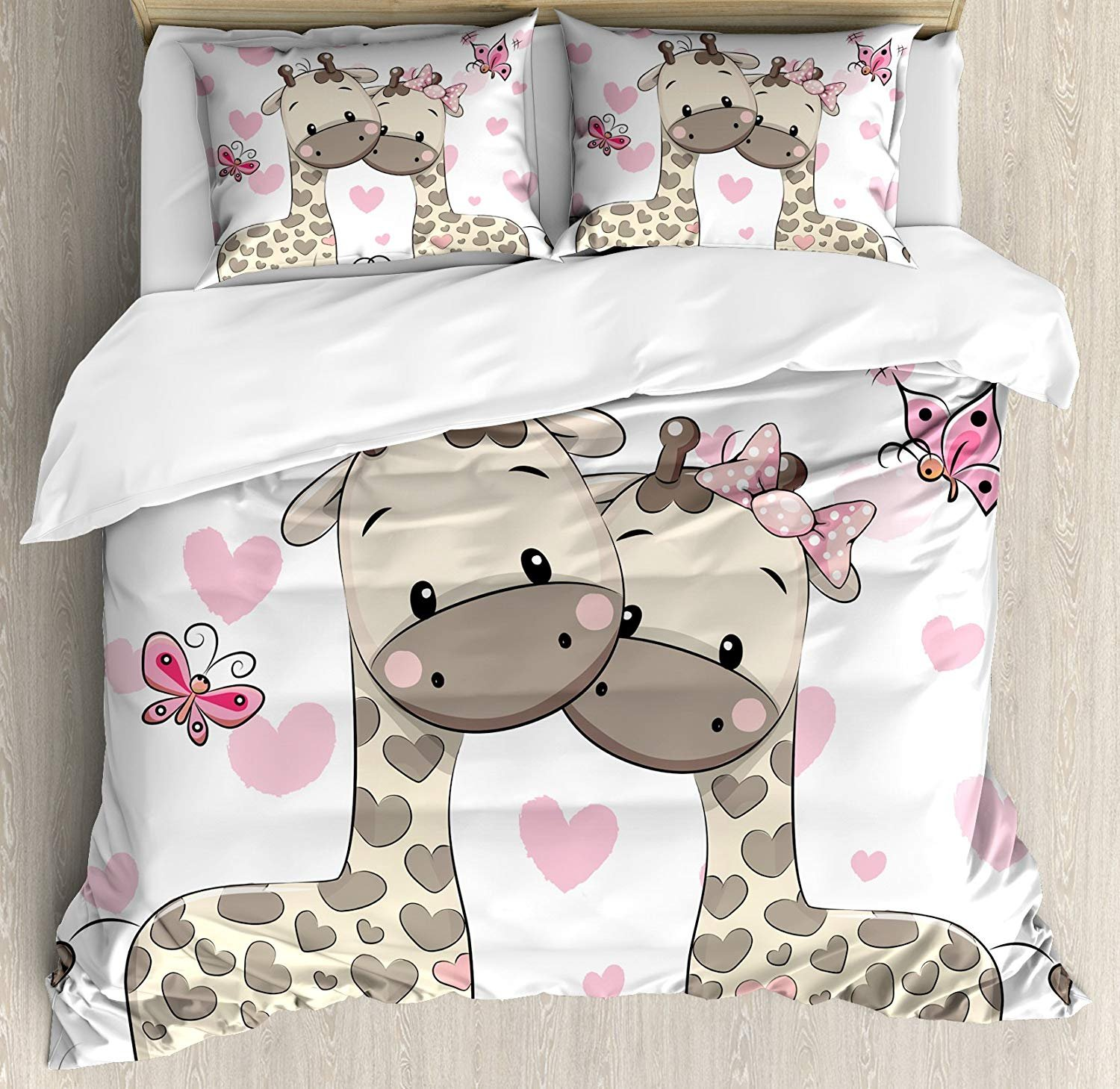 Twin XL Extra Long Bedding Set, Kids Decor Duvet Cover Set, Cute Giraffes in Pure Valentine's Love with Butterflies and Hearts Bows Art, Cosy House Collection 4 Piece Bedding Sets