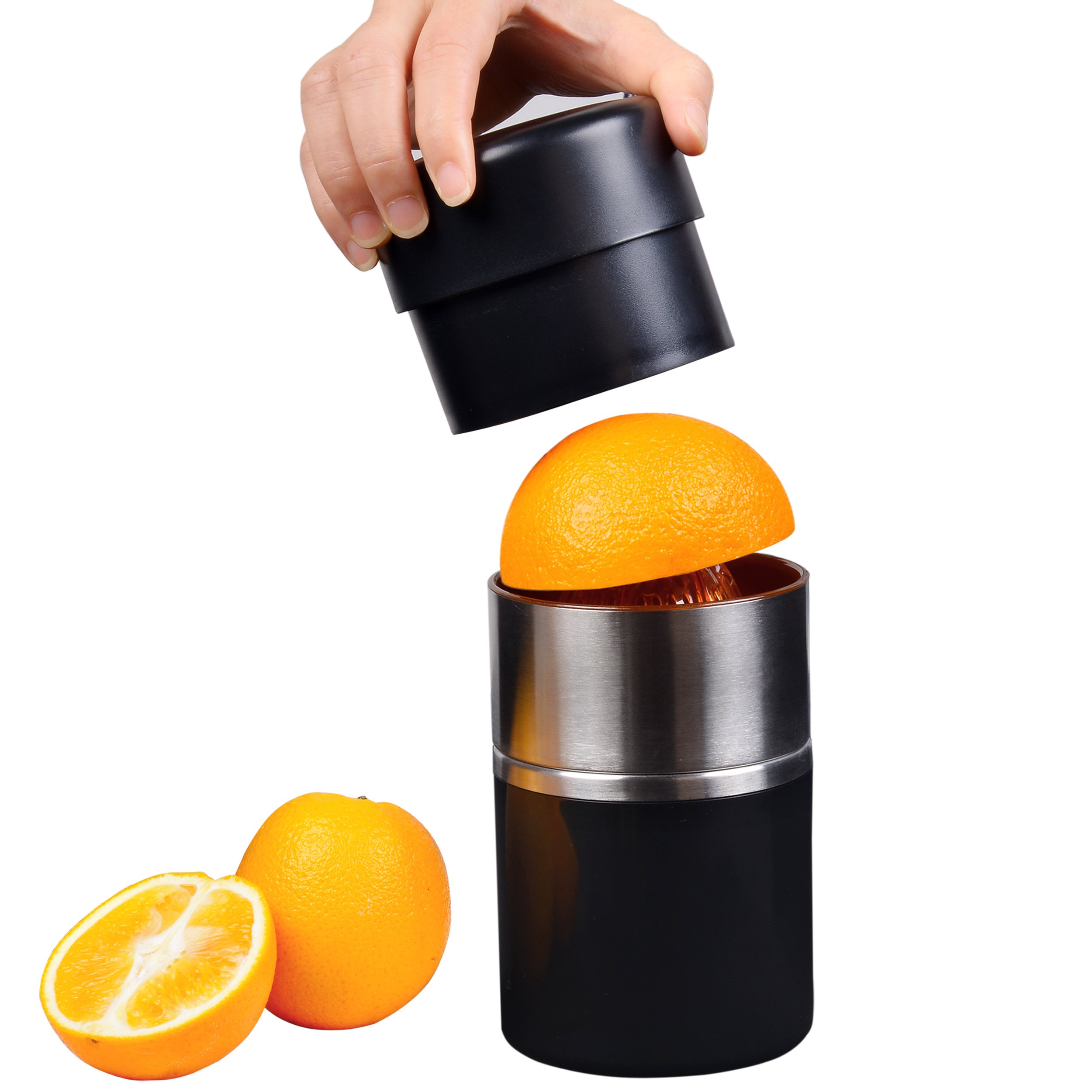 Manual Juicer, Citrus Lemon Grapefruit Press Squeezer, Stainless Steel Hand Juicer with Strainer Container, Black