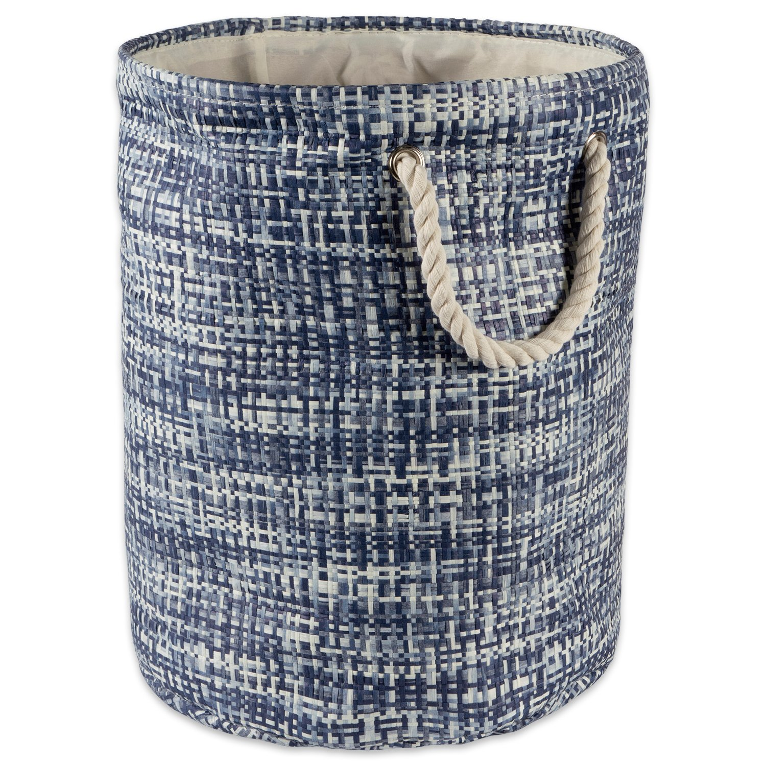 DII Woven Paper Basket or Bin, Collapsible & Convenient Home Organization Solution for Bedroom, Bathroom, Dorm or Laundry (Large Round - 15x20'') - Nautical Blue Tweed