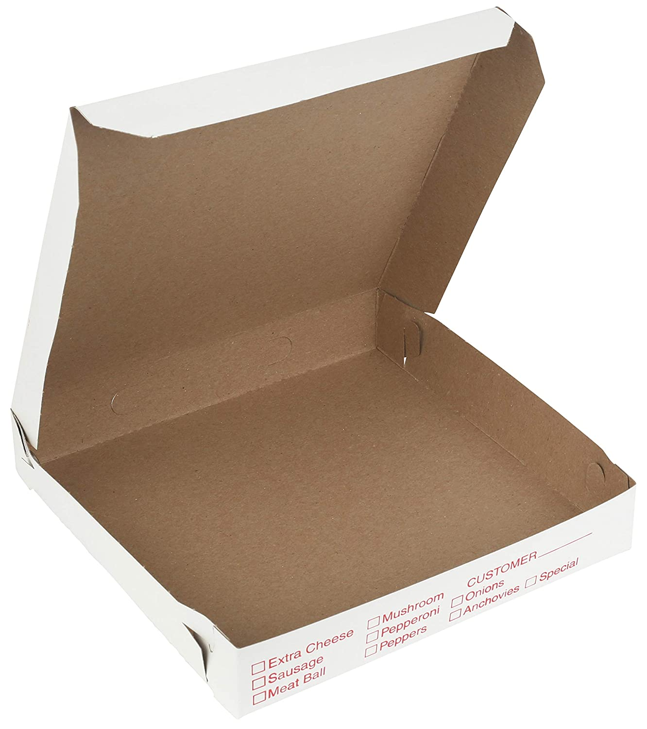 20 Pieces 10 Length x 10 Width x 1.75 Depth Lock Corner Clay Coated Pizza Box by MT Products