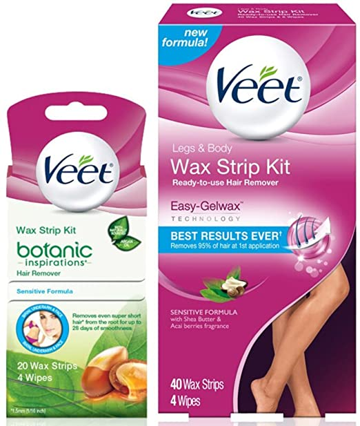 Veet Total Body Wax Strip Kit with Legs & Body Strips (40 cnt) & Botanic Inspirations Sensitive Strips (20 cnt) for Bikini, Underarm & Face best home waxing kit