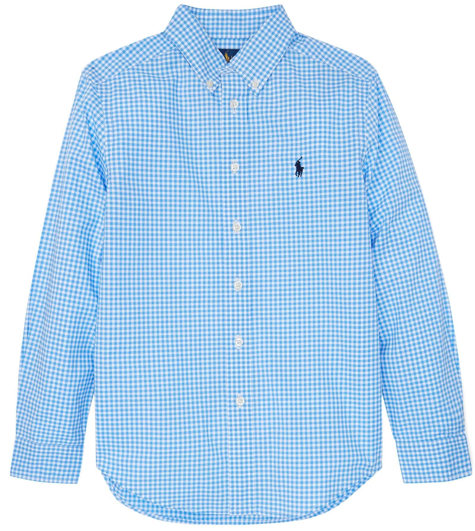Polo Ralph Lauren Boys Plaid Cotton Poplin Button Down Shirt (XL, LiteBlueCheckerd)