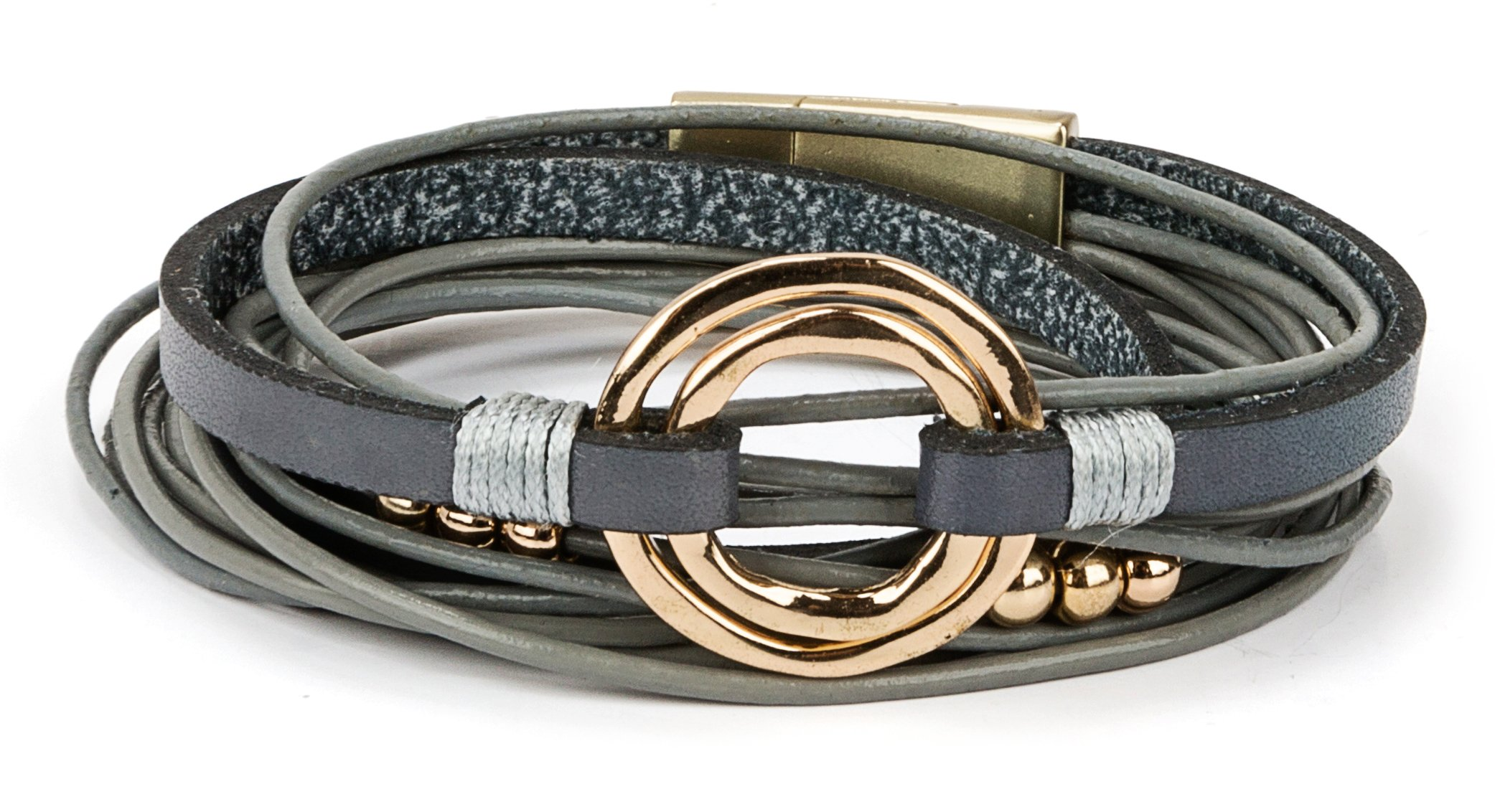 SPUNKYsoul New! Classy Double 2 Wrap Bracelet Multi Strand Gray with Gold and 2 Circles & Magnet Clasp for Women Collection