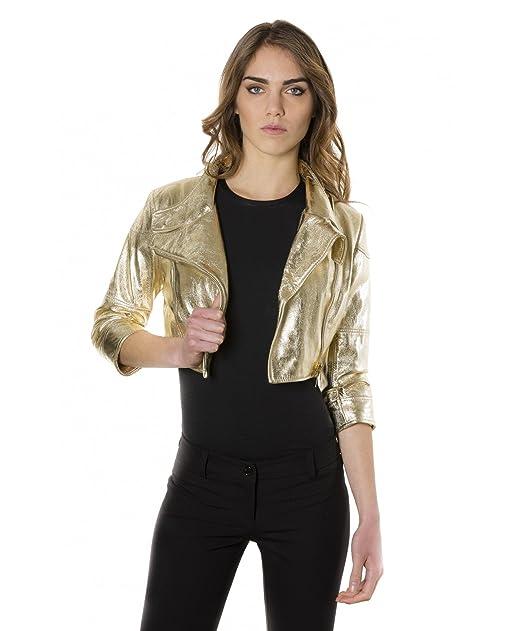 reputable site 0b12c be4c2 D'Arienzo - FIAMMA • colore oro • giacca bolero in pelle ...