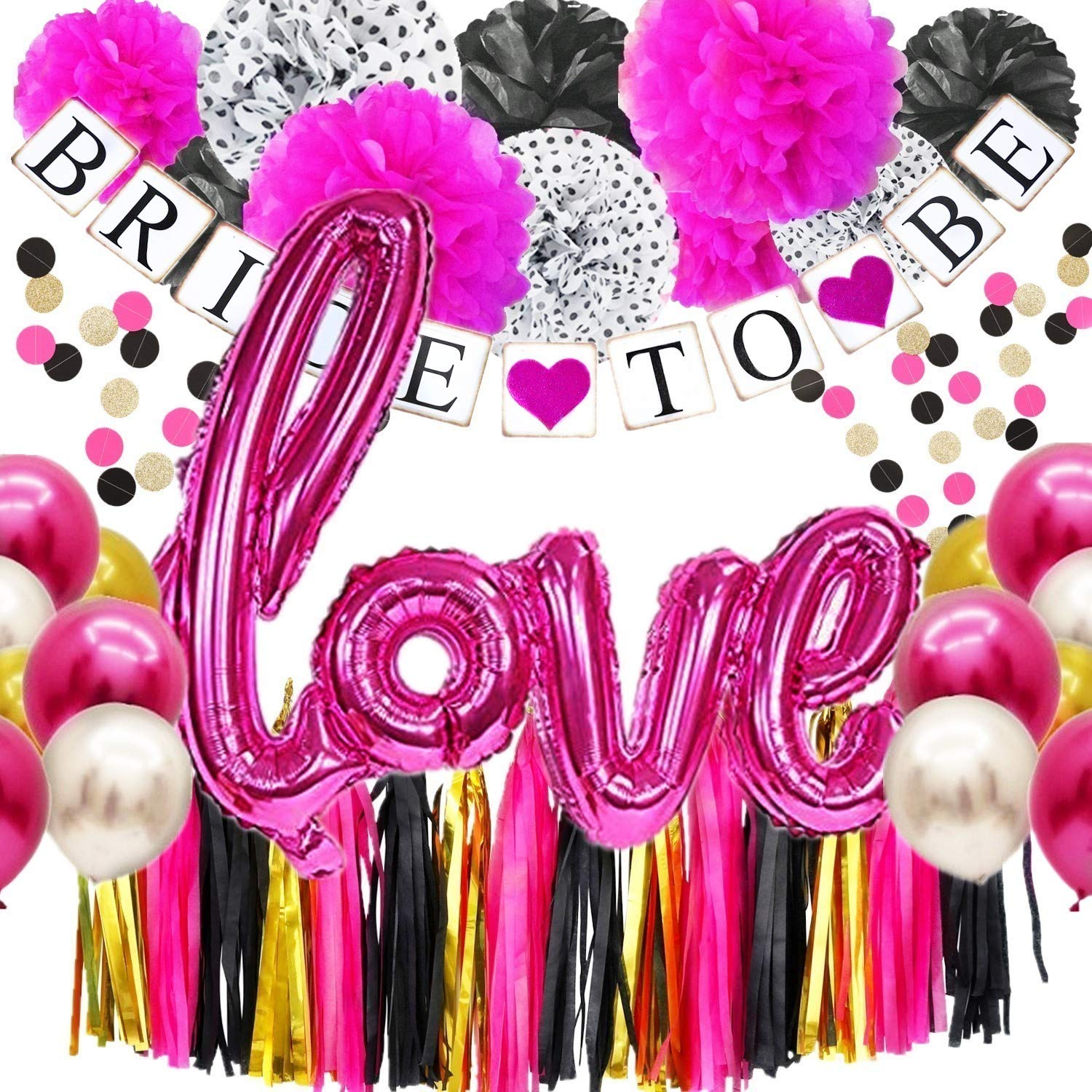 DOYOLLA Bachelorette Party Decorations Kit Back and Hot Pink, Tissue Poms, Bride to Be Banner, Tassels Garland, Love & 12inch Latex Balloons Set,Polka Dot Garlands for Wedding, Bridal Shower Decor