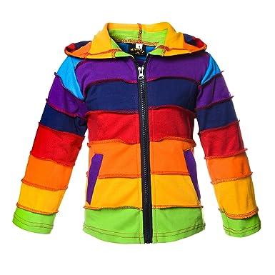 b40f1724d2fb Kunst und Magie Kinder  Regenbogen  Bunte Jacke mit Zipfelkapuze Patchwork  Goa Psy Wichtel,