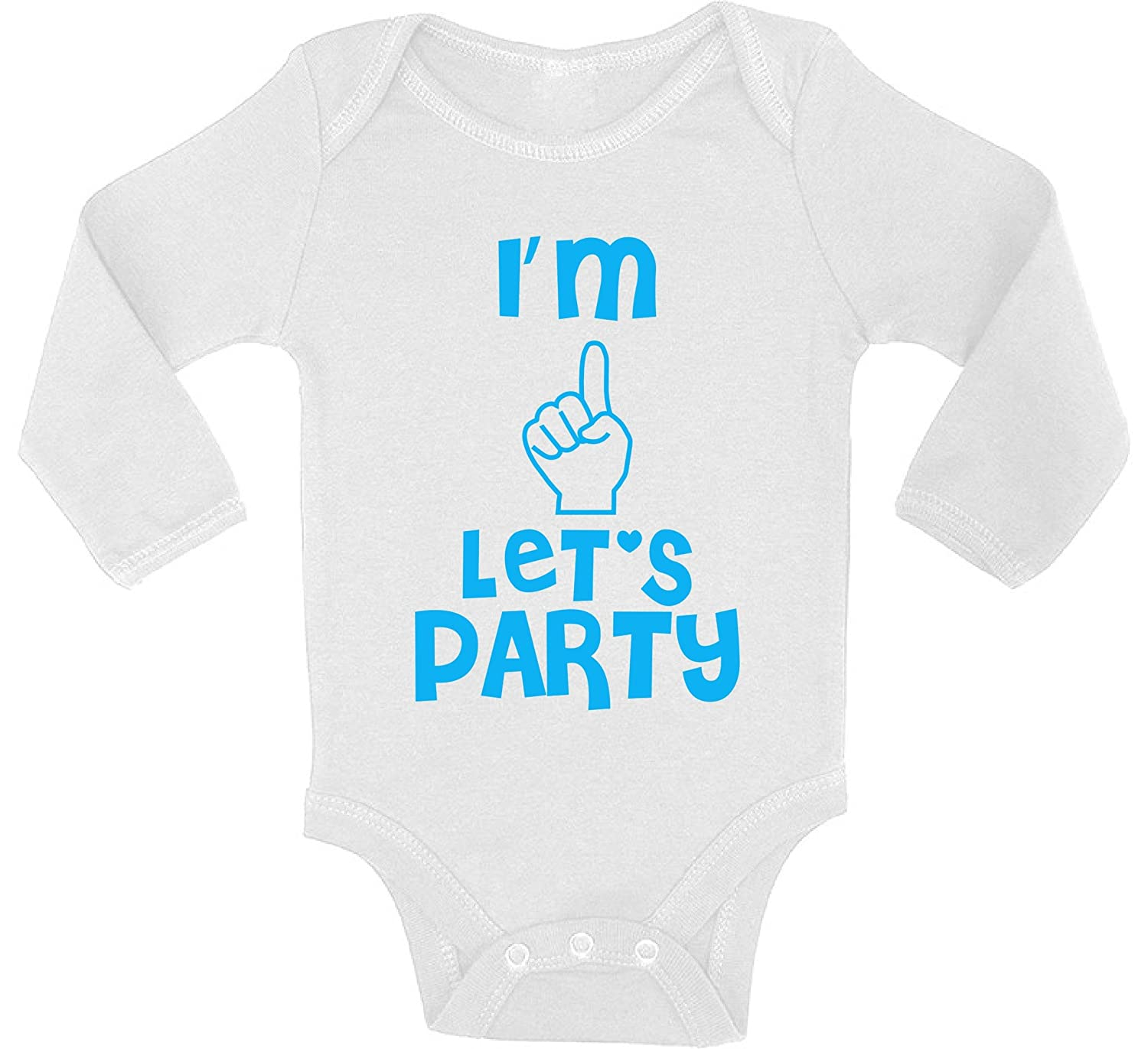 Awkward Styles Baby Im One Lets Party Boy Girl Long Sleeve Bodysuits Tops 1st Birthday Party Outfit