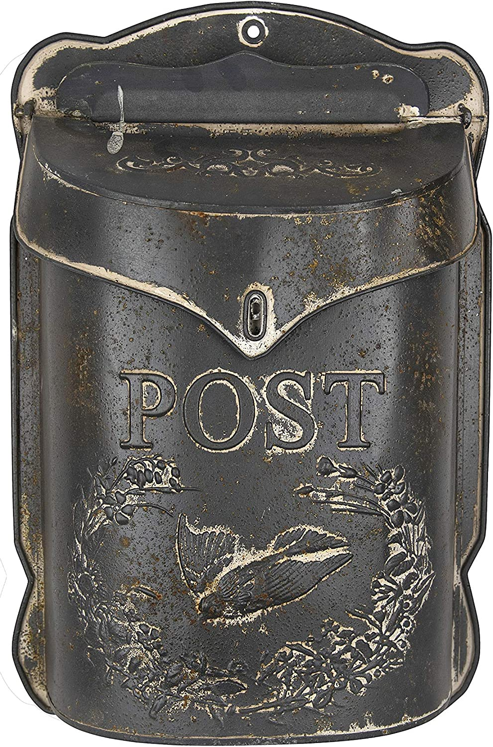 """Creative Co-op Grey Embossed Tin Letter Post Box, 10.5"""" x 15.5"""""""
