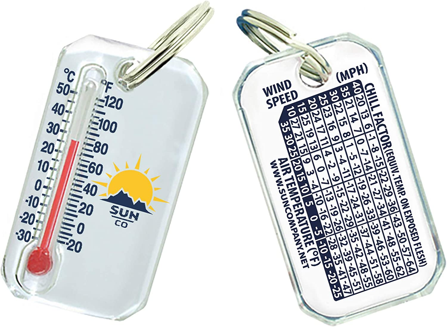 B0000AXQK3 Sun Company Original Zip-o-gage - Zipper-Pull Thermometer for Jacket, Parka, or Backpack | Outdoor Mini Thermometer Key Chain with Windchill Chart on Back 814-xs4dfrL
