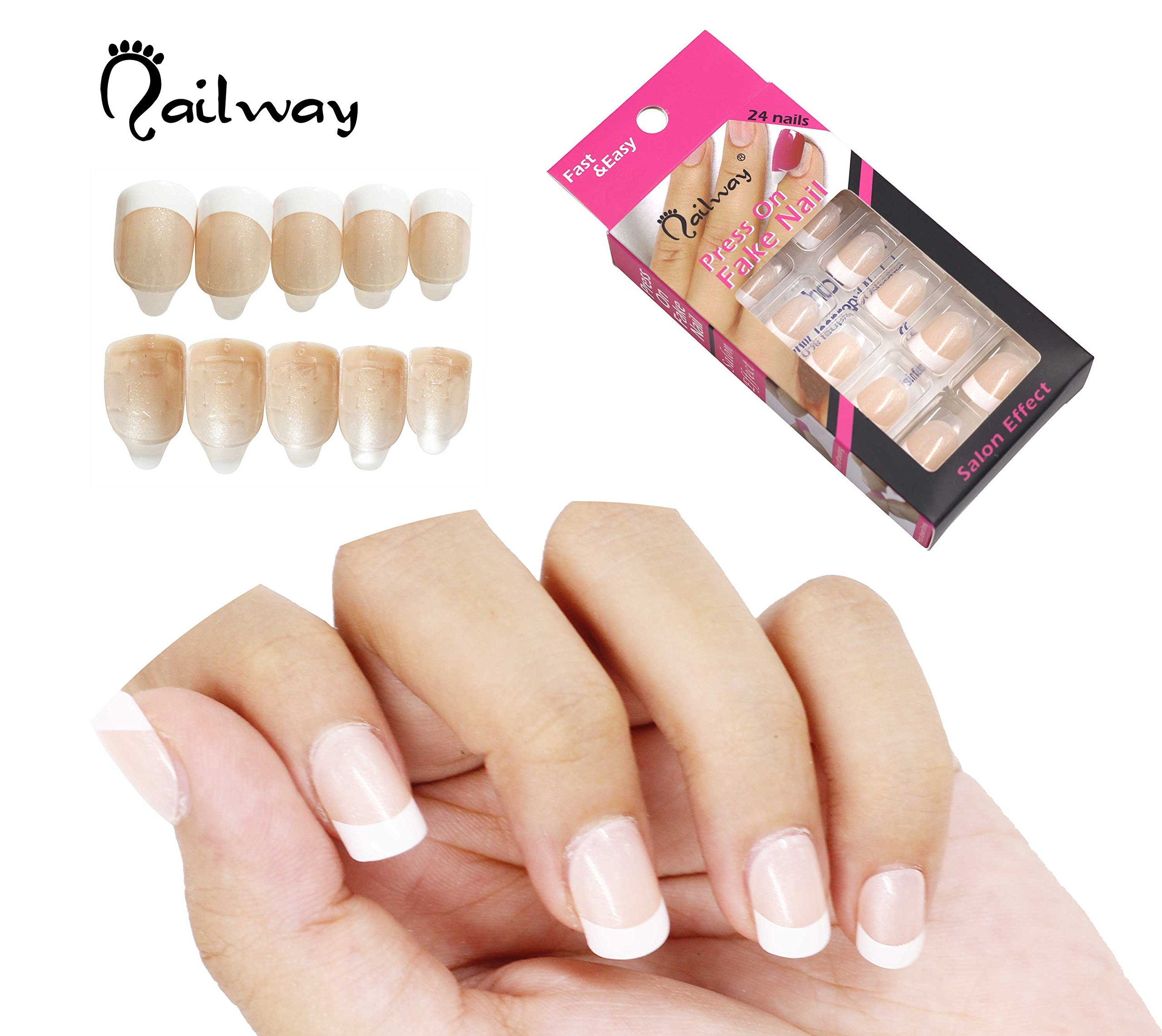 NAILWAY Press On Fake Nails Self Adhesive Fake nail Pre-glue Nail Art with Adhesive