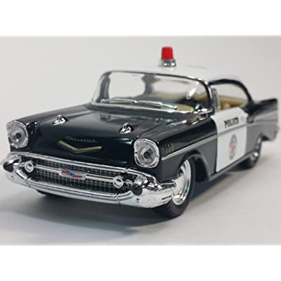 Kinsmart 1957 Black & White Police Chevy Bel Air 1/40 O Scale Diecast Squad Car: Toys & Games