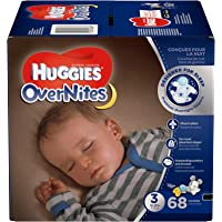 HUGGIES OverNites Diapers, Size 3, 68 ct., BIG PACK Overnight Diapers (Packaging May Vary)