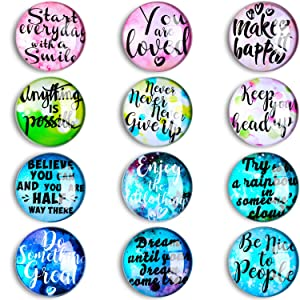 12 Pieces Inspirational Quote Refrigerator Magnets Motivational Fridge Magnets Glass Refrigerator Magnets for Fridge Locker Classroom Whiteboard Supplies, 12 Styles
