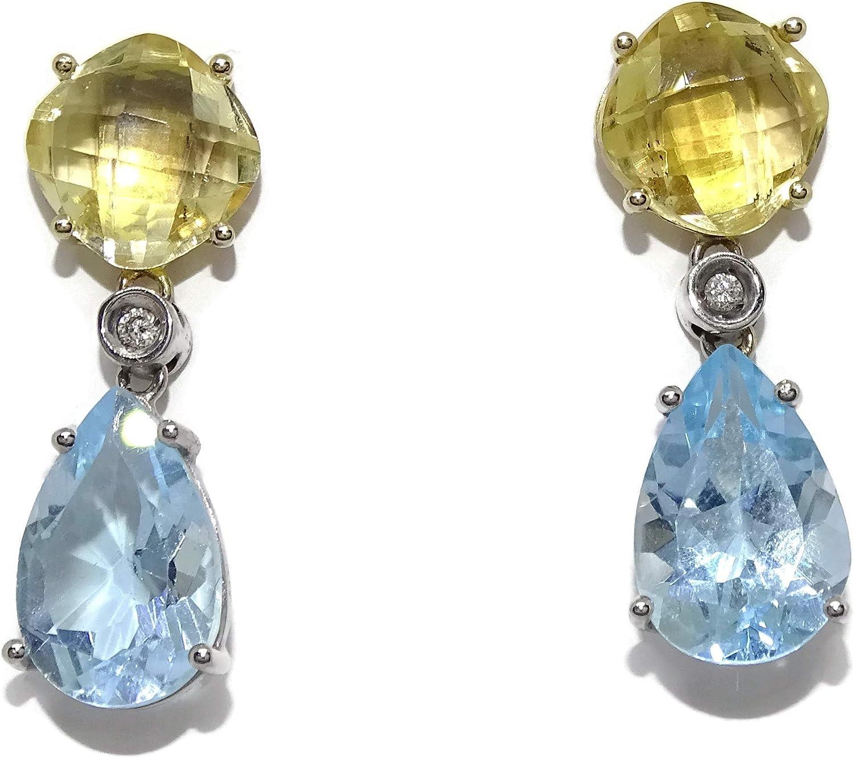 Exclusivos pendientes de oro amarillo y oro blanco de 18k con piedras preciosas con 0.04cts de diamantes topacios y citrinos naturales