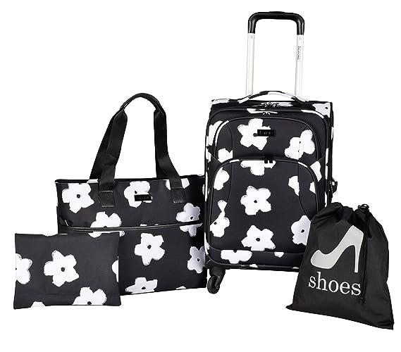 Amazon.com: Kensie flores blancas 4 piezas moda equipaje y ...