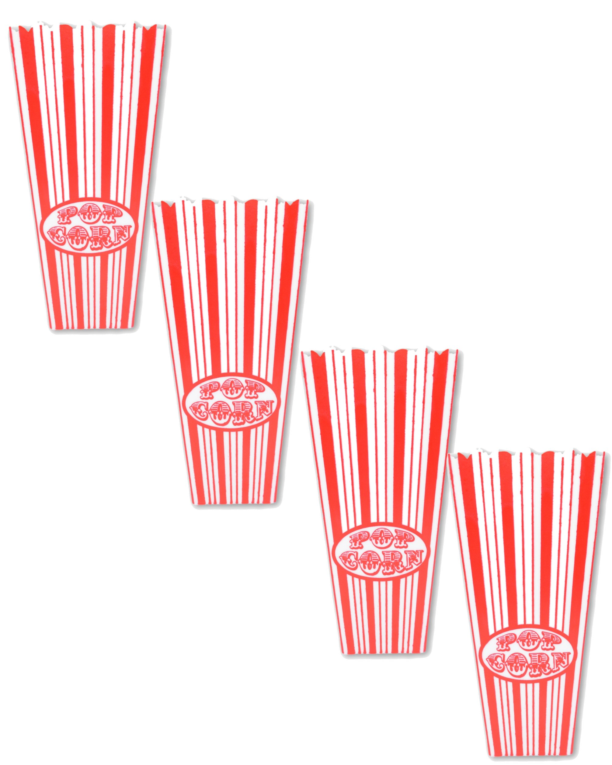 Movie Popcorn Bucket 4 piece Set. Strong Durable Candy Cane Plastic Reusable Buckets for Memorable Family Nights in the Home Theatre. Add Popcorn, Salt, Butter and Enjoy!