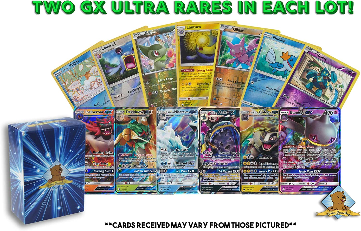 20 Assorted Pokemon Cards - 2 GX Ultra Rares and 18 Reverse Holographic Rares - Authentic with No Duplication - Includes Golden Groundhog Deck Storage Box!