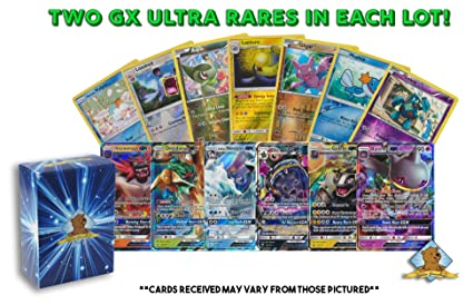 Pokemon Gx Foil Lot 20 Cards Featuring 2 Gx Ultra Rares And 18 Reverse Foil Pokemon Cards Includes Golden Groundhog Deck Box