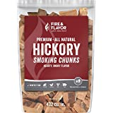 Fire & Flavor FFW202 Premium All-Natural Hickory Wood Smoking Chunks, Hearty, Smoky Flavor for Use with Seafood, Chicken, Bee