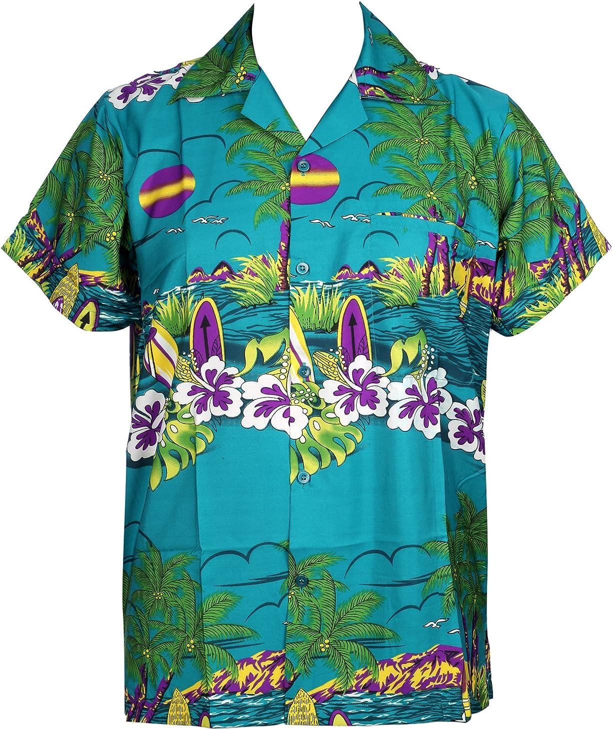 Camisa Hawaiana para Hombre, diseño de Sol, para la Playa, Fiestas, Verano y Vacaciones - 2XL - Verde Oscuro: Amazon.es: Ropa y accesorios