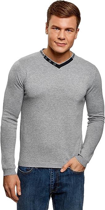 TALLA XXL. oodji Ultra Hombre Suéter con Cuello Pico y Botones Decorativos