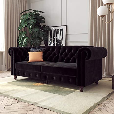 DHP Felix Chesterfield Sofa, Multi-Position Design, Black Velvet Futon,