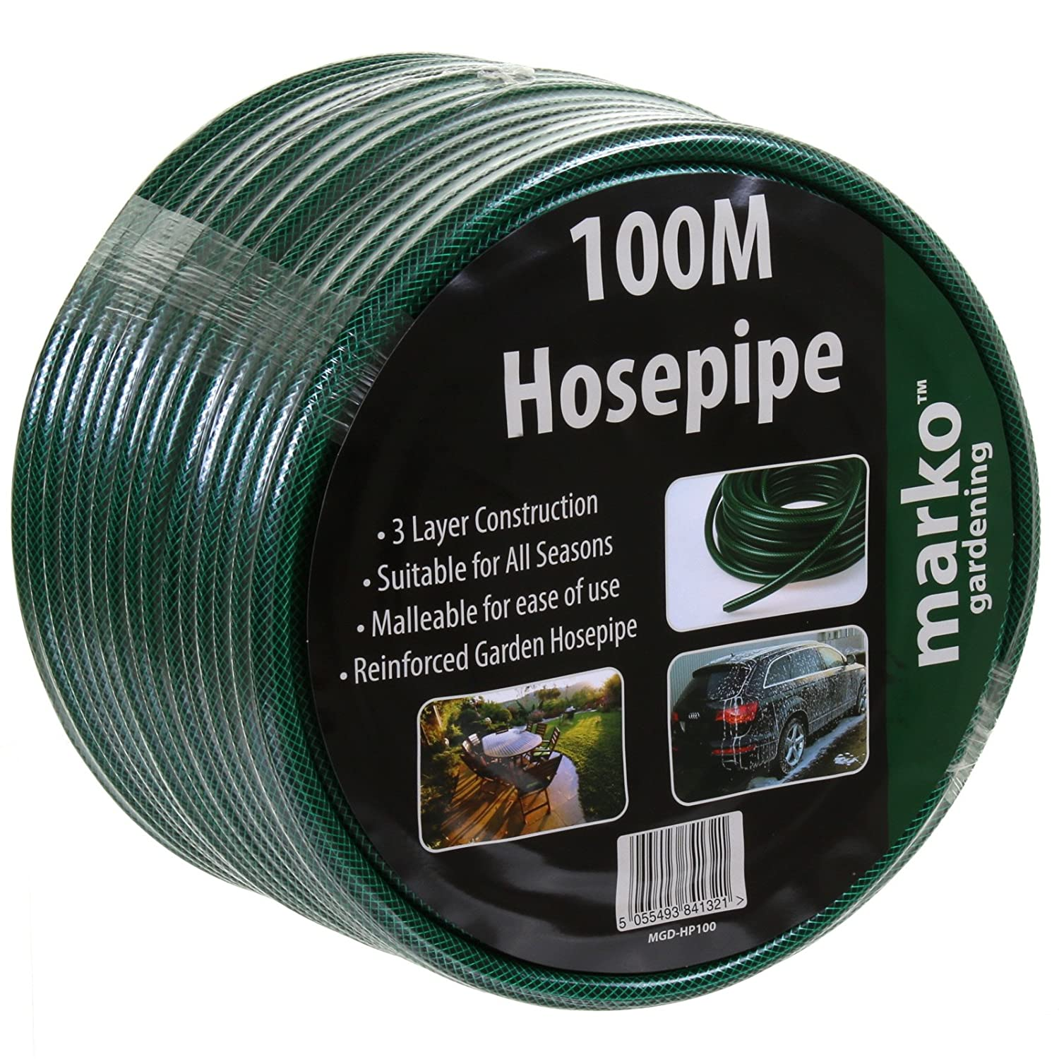 100M HOZELOCK COMPATIBLE FITTINGS 15M NEW UK MANUFACTURED GARDEN HOSEPIPE