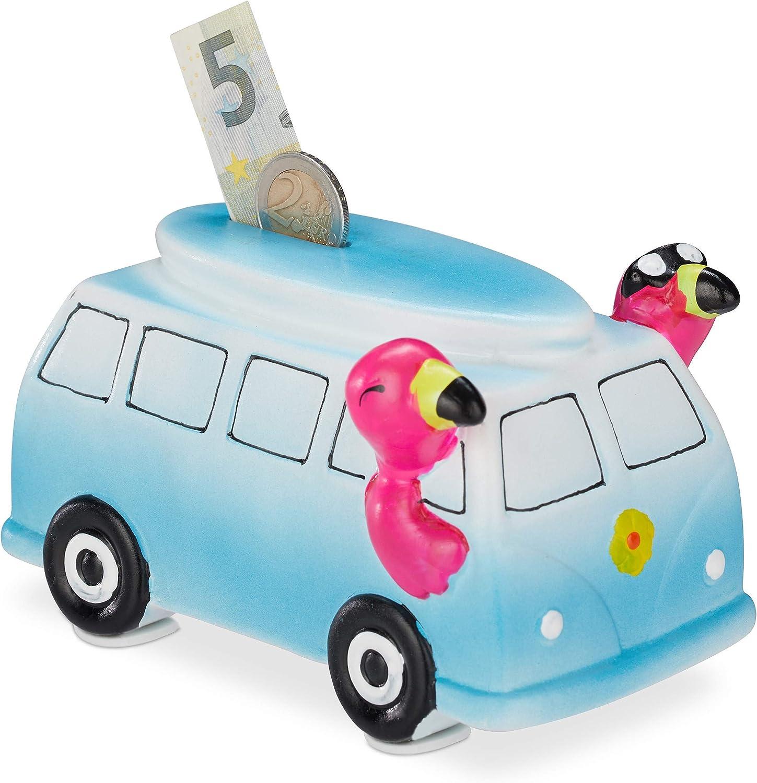Relaxdays, Azul-Rosa, 9 x 10 x 15 cm Hucha Autobús con Flamencos, Cerámica, plástico, Metal