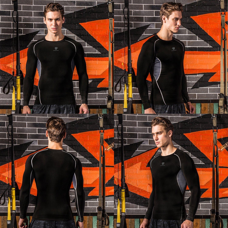 Barrageon Camiseta de Compresi/ón de Mangas Largas para Hombre Baselayer Top Deportivos Secado R/ápido para Ejercicio Gimnasio Entrenamiento Cruzado Correr Baloncesto Jogging
