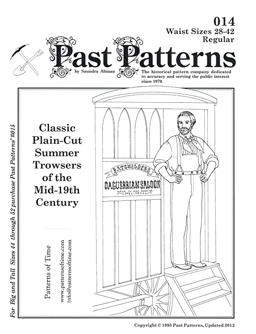Men's Vintage Reproduction Sewing Patterns 1850s Classic Plain-Cut Summer Trousers of the Mid-19th Century Pattern $13.95 AT vintagedancer.com