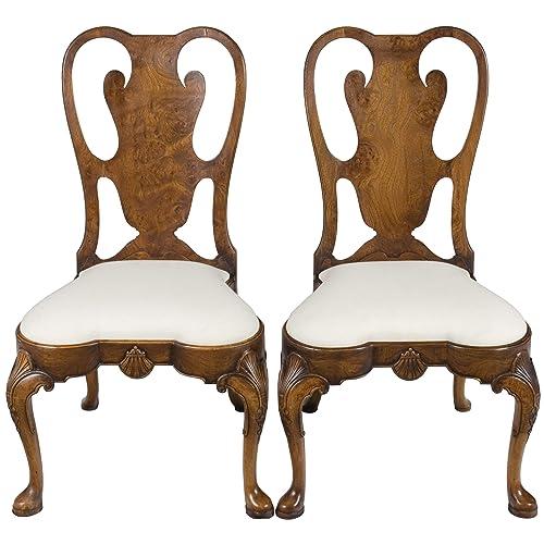 Queen Anne Dining Chairs in Burl Walnut