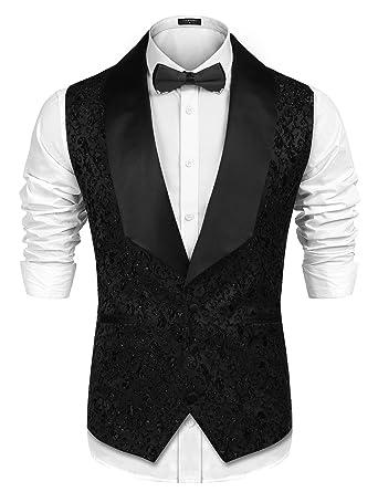 800019326c8b25 COOFANDY Men Floral Party Tuxedo Vest V-Neck Lapel Dress Suit Vest Waistcoat