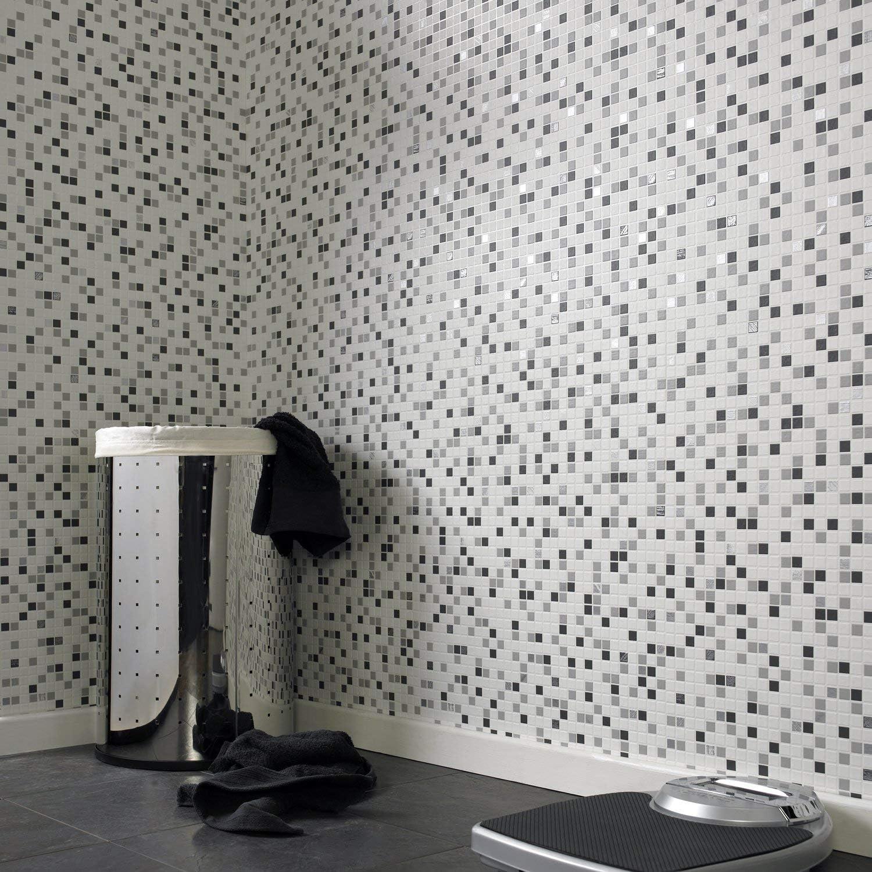 Contour Checkered Tile Effect Kitchen Bathroom Black White